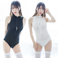 Appeal clothing See through ice zipper fun suit Girls' swimsuit sexy open range suit sexy underwear