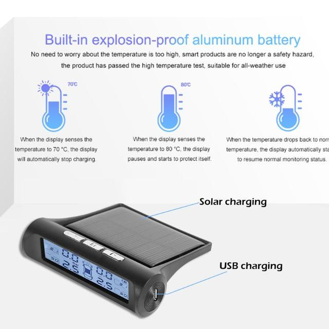 VODOOL Solar Power TPMS Car Tire Pressure Alarm Monitor System Auto Tyre Pressure Temperature Warning Car Security Alarm Systems