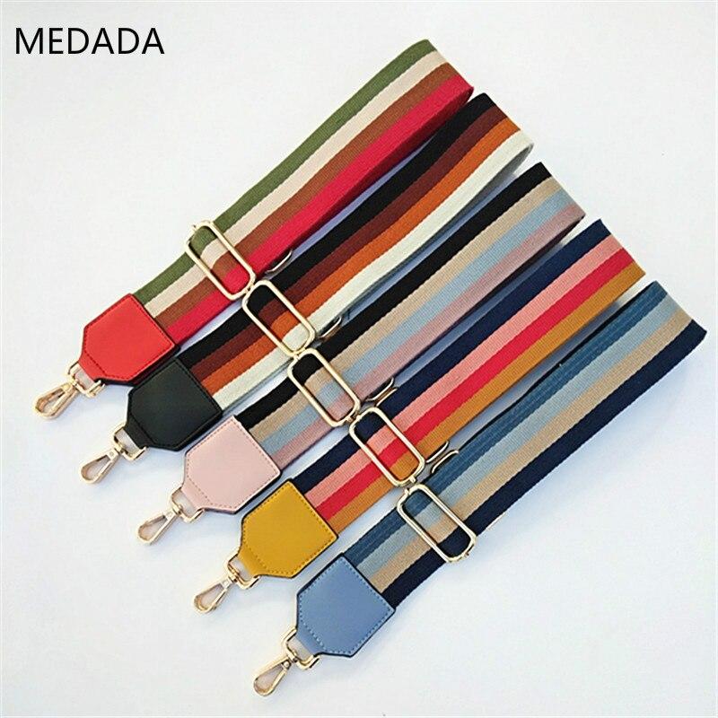 Medada Woman Belt Wide  Bag Replacement Shoulder Strap Skew Single Shoulder Bag Accessories Belt Colour Stripe Straps For Bags