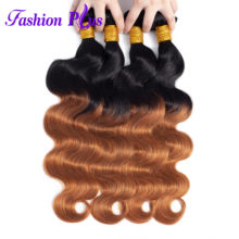 Fashion Plus Brazilian Body Hair Weave Bundles Omber 100% Human Hair Extensions 2 Tone 10-26 Inch Remy Hair Bundles(China)