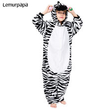 Kids Kigurumis Onesies Cartoon Zebra Kinderen Pyjama Pak Homewear Meisje Jongen Party Jumpsuit Cosplay Nachtkleding Kind Kostuum
