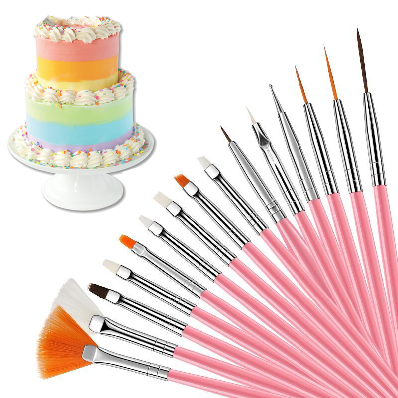 15 шт./компл. фотообои для помадки «сделай сам», инструменты для украшения выпечки и выпечки, ручка-кисточка для помадки, картины, фотоинструм...