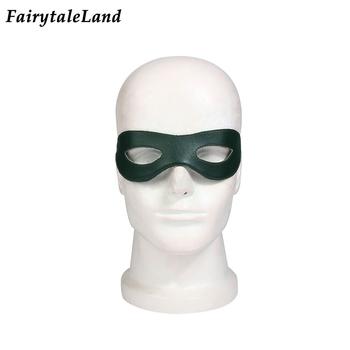 Green Arrow maska na oczy karnawał Halloween akcesoria Cosplay superbohatera Oliver królowa maska nakrycia głowy tanie i dobre opinie CN (pochodzenie) Maski Unisex Dla dorosłych Superhero Sci-Fi Costumes Skóra syntetyczna Oliver Queen Free size PU Leather