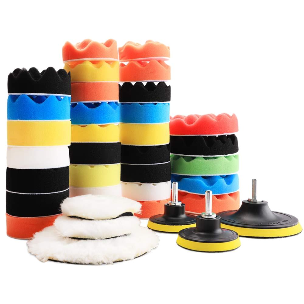 38Pcs Polishing Pad Kit Buffing Pads Car Care Polisher Waxing Polishing Set   - title=