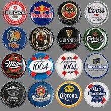 [Luckyaboy] Round Beer Bottle Caps Metal Tin Signs Plates Retro Wall Art Plaque Vintage Cafe Bar Pub Corona Home Decor