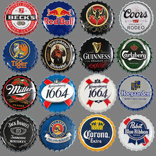 [Luckyaboy] Tapas Redondas para botellas de cerveza, placas de Metal de estaño para carteles, placa de arte Retro para pared, Vintage, café, Bar, Pub, Corona, decoración del hogar