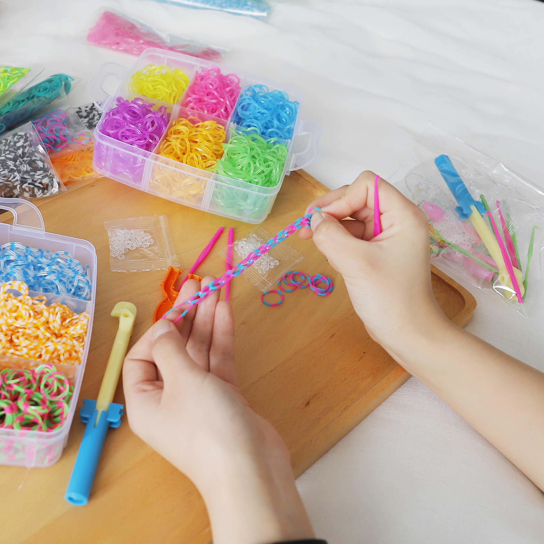 1800 PC DIY Mainan Karet Loom Band Set Anak DIY Gelang Silikon Karet Gelang Elastis Pelangi Tenun Loom Bands Mainan anak-anak Barang