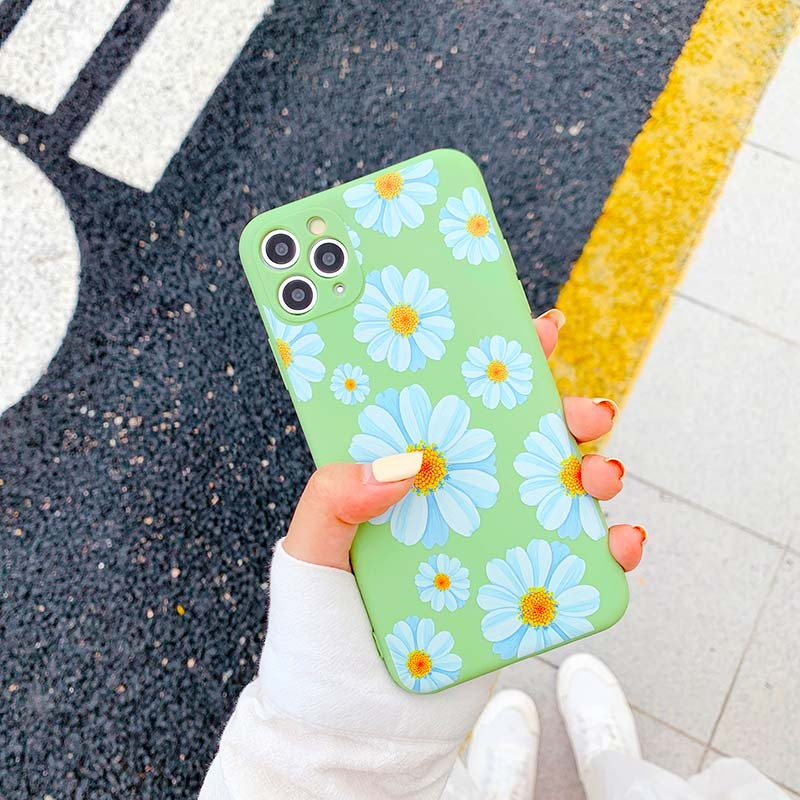 Flower Silicone Case For iPhone 11 Pro Max X XR XS Max 7 8 Plus SE 2020 Cute Floral Soft Back Cover Coque