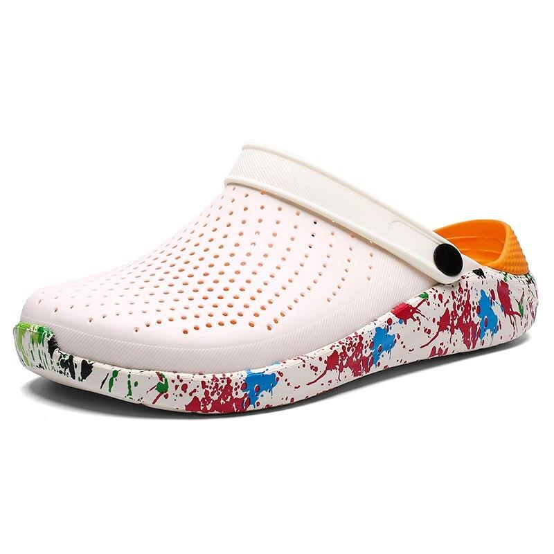 2019 hommes sandales Crocks littéride trou chaussures Crok caoutchouc sabots pour hommes EVA unisexe jardin chaussures noir Crocse Adulto Cholas Hombre - 6
