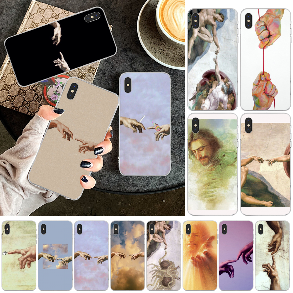 Reayou Art Fresco Michelangelo Creation TPU мягкий чехол для телефона iPhone 11 pro XS MAX 8 7 6 6S Plus X 5 5S SE XR Cover image
