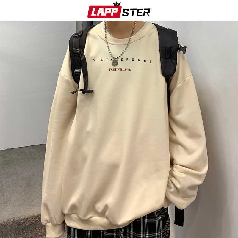 Lappster men 일본어 streetwear 편지 인쇄 후드 2019 대형 풀오버 mens 한국 스웨터 남성 black earth clothes