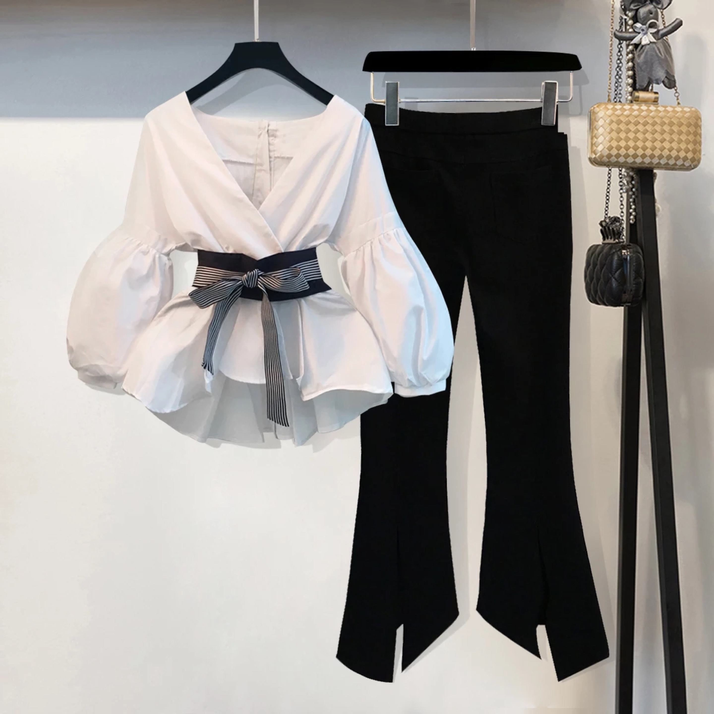 Fashion Spring Women 2 Pieces Set Long Sleeve Blouse Tops And Trousers Casual Office Lady Pants Suit Plus Size 4Xl Clothes Set