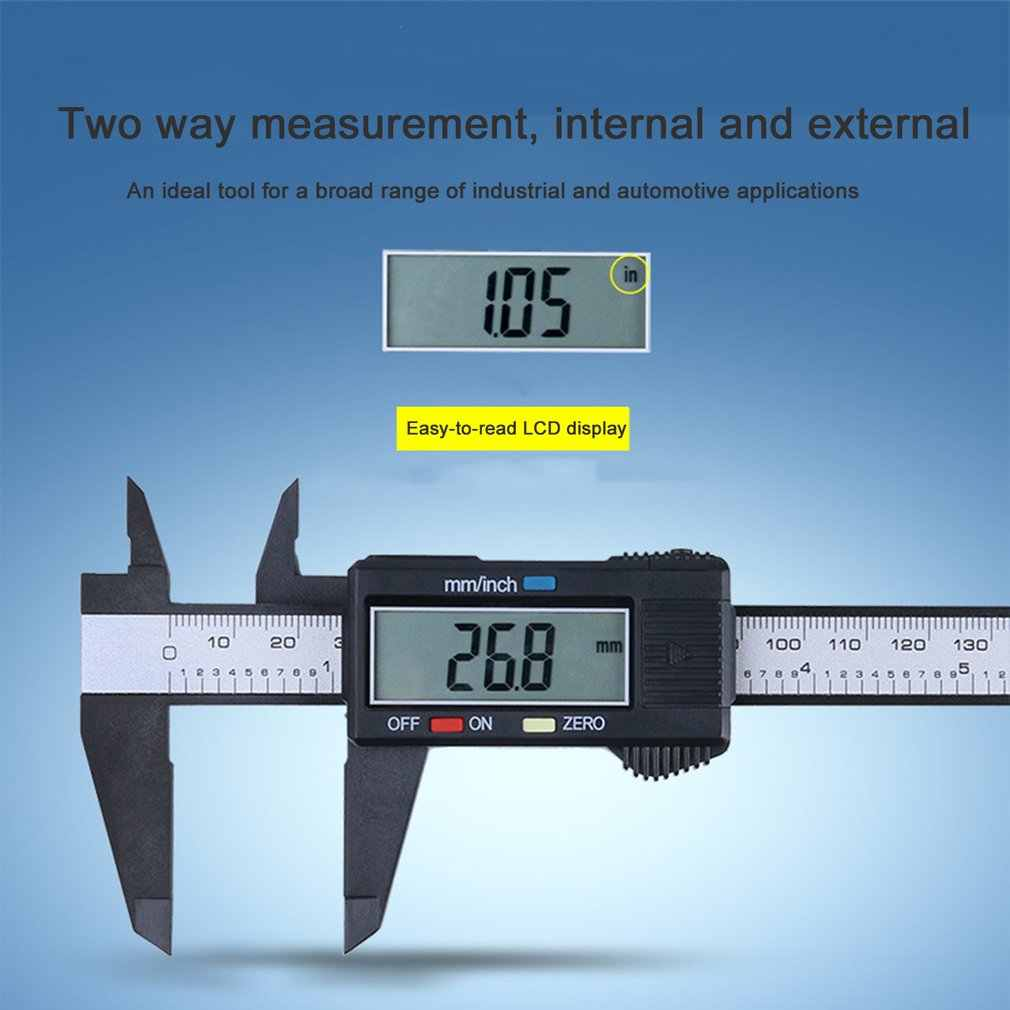 Greatangle Carbon Fiber Composites LCD Digital Caliper 0-150mm Gauge Micrometer Measuring Tool Caliper Ruler with Inch to MM Conversion black