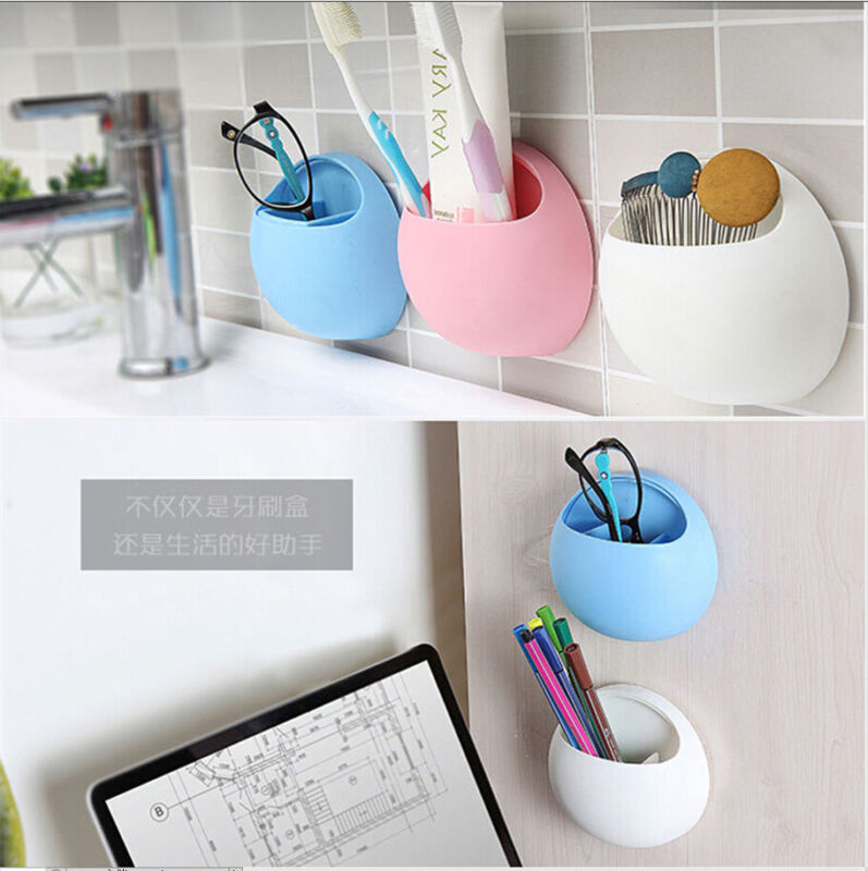 1pc Bathroom Accessories Useful Plastic Home Bathroom Toothbrush Holder Wall Mount Holder Sucker Suction Cups Organizer image