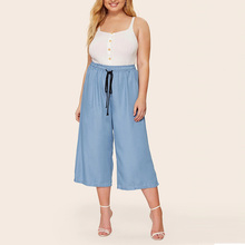 2019 Fashion Casual Women Style Lady Sashes Long Trouser Large Size High Elastic Waist Plus Loose Solid Female Harem Pants
