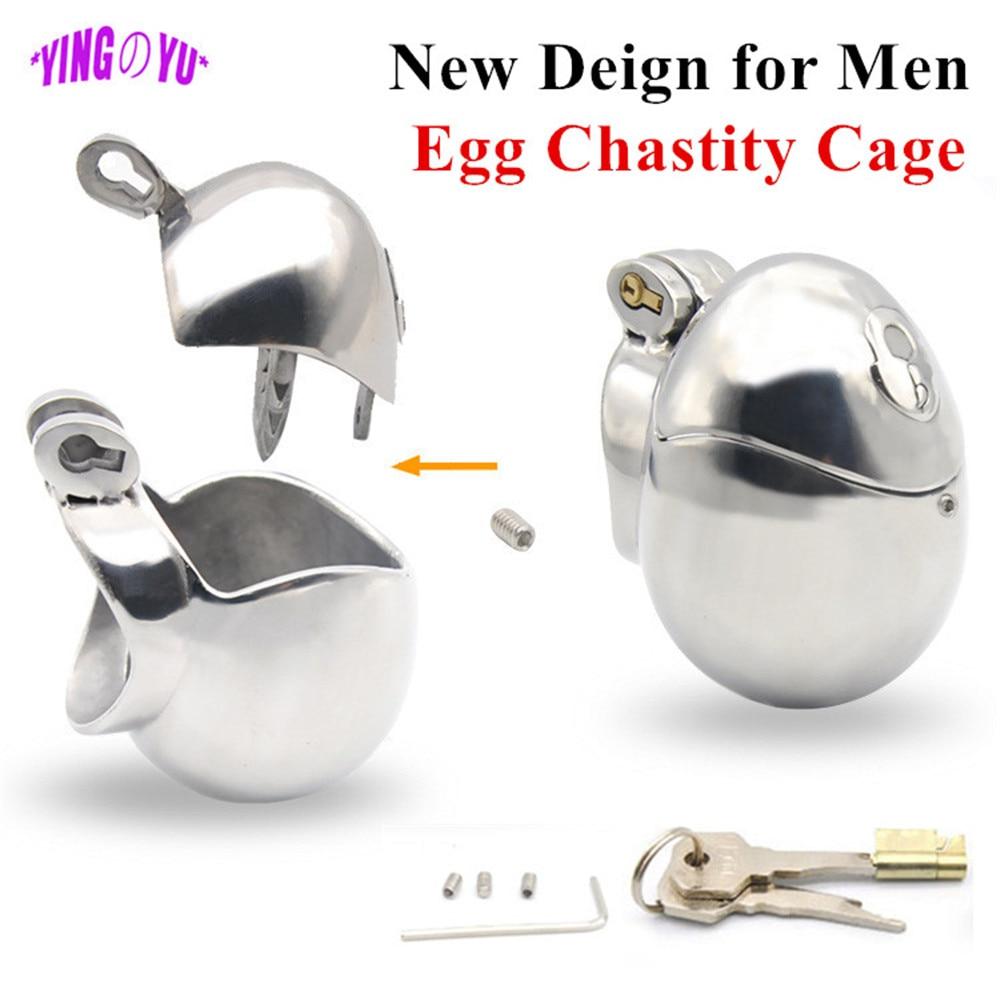 Extensor de bolas en forma de huevo de acero inoxidable para hombre, Dispositivo de Castidad para pene, anillo de cierre para pene, Juguetes sexuales para hombres, BDSM, cinturones de sujeción