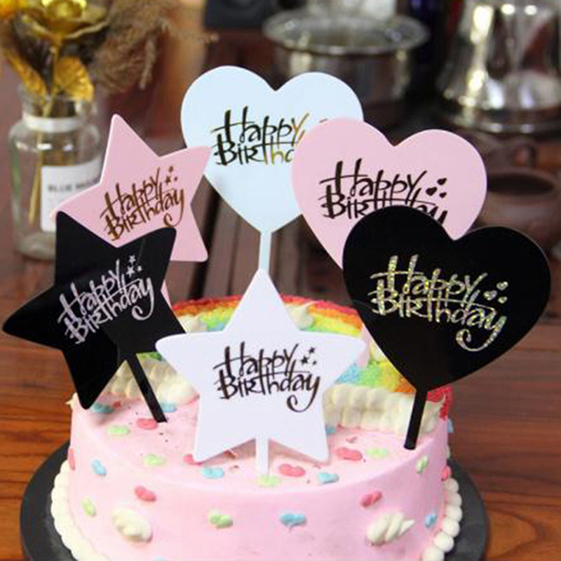 1Pc HAPPY BIRTHDAY Acrylic Cake Topper Dessert Baking Party Decoration-2