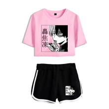 Funny Cute Boku No Hero Academia Female Suit Two Piece Kpop Short Sleeve Crop Top+Shorts Summer Young People Women's Set