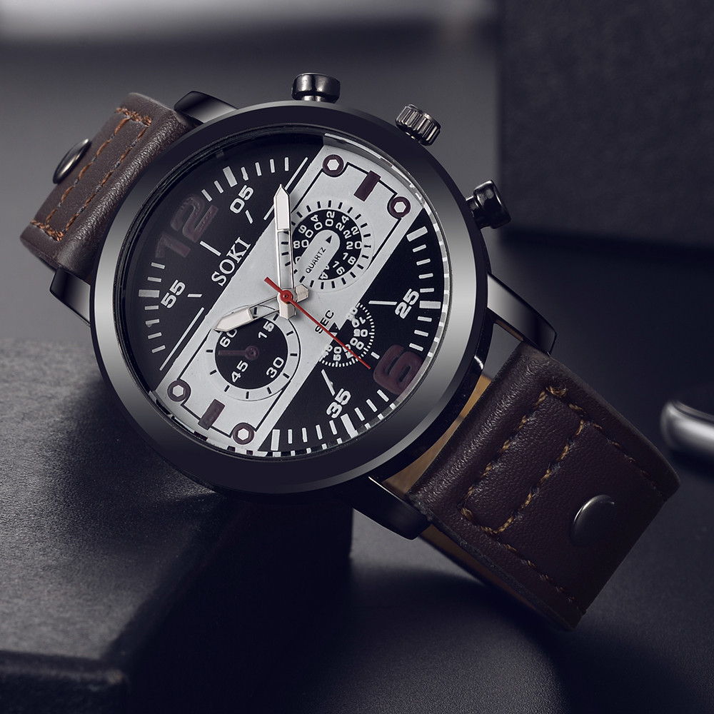 Relogio Masculino Mens Watch Couple Fashion Leather Band Analog Quartz Round Wrist Business Men's Watch Clock Relogio Feminino