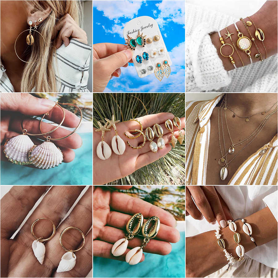 Fashion Brincos Sea Shell Conch Earrings 2019 for Women Gold Color Pendant Dangle Earring Female Bohemian Beach Summer Jewelry