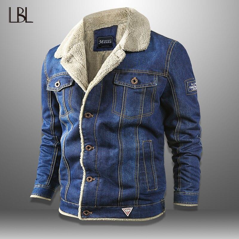 Denim Mens Jackets Winter Military Jeans Jacket Men Thick Warm Bomber Jacket Outwear Cowboy Jacket Trendy Warm Fleece Top Male