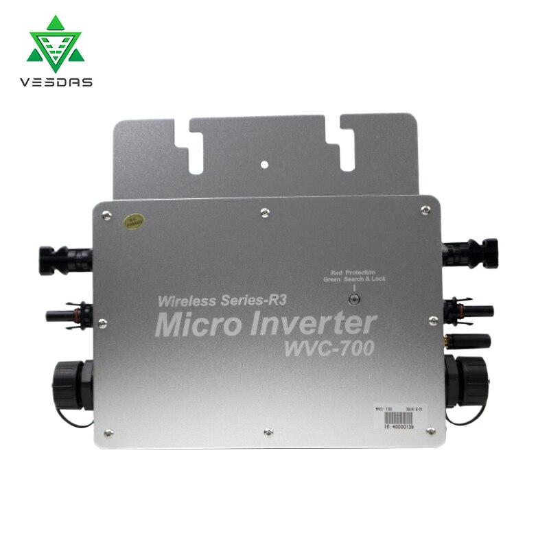 WVC700 Solar Inverter Grid Tie Inverter MPPT Wasserdichte Micro Inverter Solar Konverter 22-50VDC zu 80-280 VAC Auto Spiel