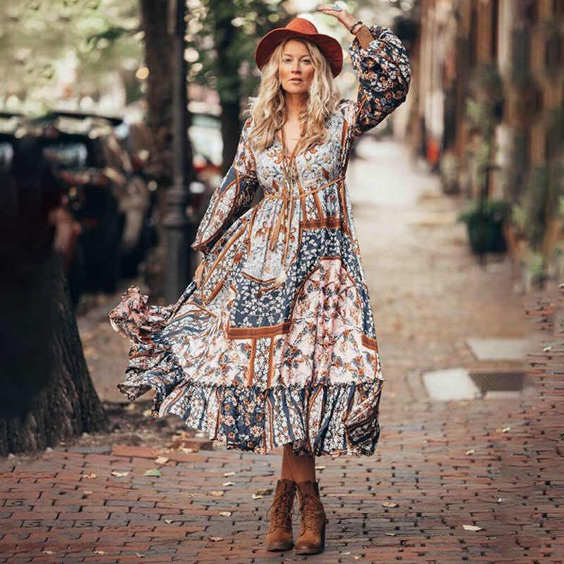 2020 봄 여름 Boho 드레스 빈티지 긴 드레스 여성 Vestido 쉬폰 플러스 사이즈 드레스 우아한 파티 드레스 긴 소매 드레스