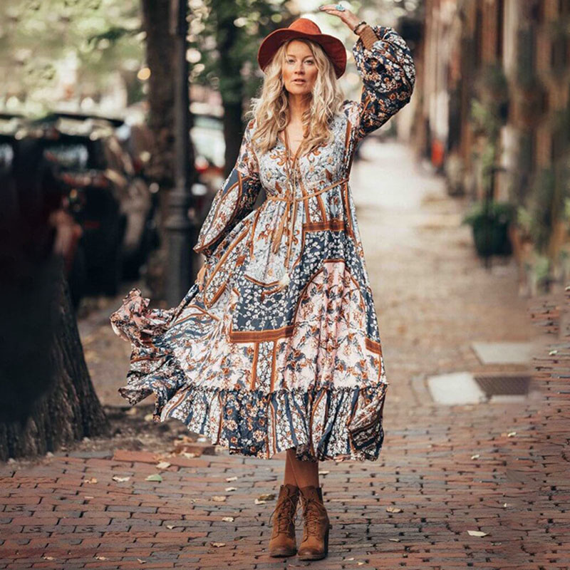 Image 2 - 2020 Spring Summer Boho Dress Vintage Long Dress Women Vestido Chiffon Plus Size Dresses Elegant Party Dress Long Sleeve DressesDresses   -