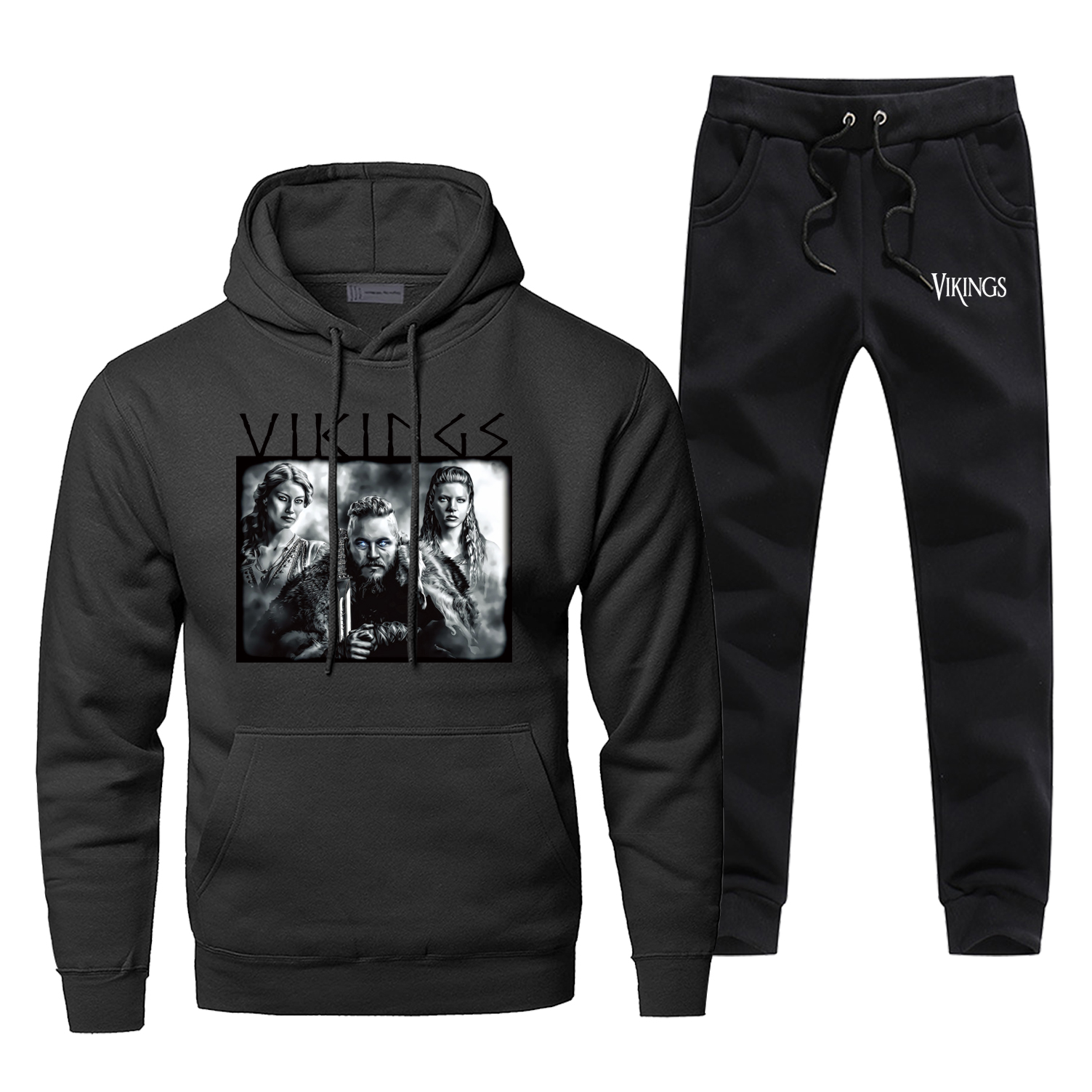 TV Show Vikings Men's Full Suit Tracksuit The Viking Winter Bodywarmer Pants Sweatshirt Comfortable Lagertha Men's Jogging