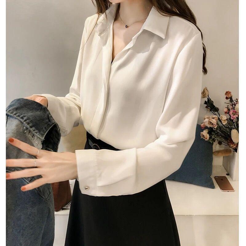 2019 frühling Kleidung Neuen Stil Korean stil Elegante Einfarbig Shirt Frauen Langarm Tops Einfache Ol Chiffon Hemd basis Shirt - 3