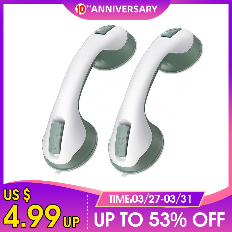 1pcs 12'' Inch Bathroom Grip Handle Shower Tub Suction Cups Grab Bar Handle Support Safety Strong Mount Grab Bar Support
