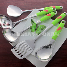 Dinnerware Sets 5Pcs Set SUS 304 Cooking Tool Sets Kitchen Utensils Truner Ladle Stainless Steel Non-stick Cookware Temperature cheap SSGP Western Metal Pigmented Solid Eco-Friendly CRB039 Spoon Fork Knife Chopsticks Kit Cooking Tool Sets 5 Pcs Set Green Stainless Steel Color