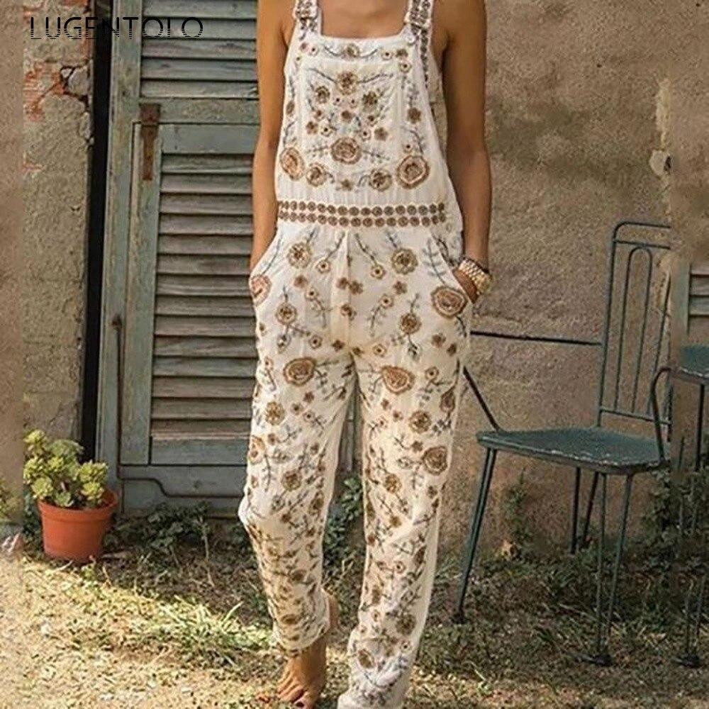 Lugentolo Overalls für Frauen Overall Herbst Neue Mode Druck Gerade Volle Länge Polyester Plus Größe Casual Overalls