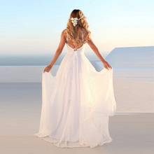 Eightree Full Lace Beach Wedding Dress Spaghetti Strap Boho Gowns V Neck Backless Bride Plus Size Robe de soiree