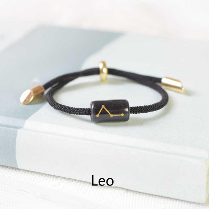 Lucky Rope Chain bransoletka dla kobiet mężczyzn ceramika wygrawerować 12 konstelacji uroku bransoletki biżuteria bransoletki i Bangles