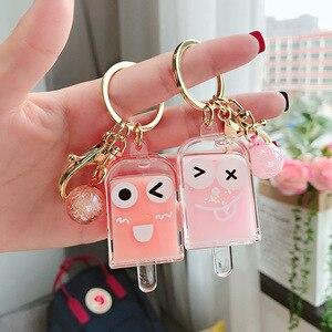 Creatieve Popsicle Glitter Sleutelhanger Quicksand Sleutelhanger Liquid Drijvende Ijs Sleutelhanger Rugzak Hanger Koppels Gift K078(China)