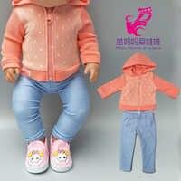 Ropa de muñeca de 43cm con 18 pulgadas pantalones de chaqueta de muñeca de bebé recién nacido para muñeca niños de Año Nuevo regalos pequeños