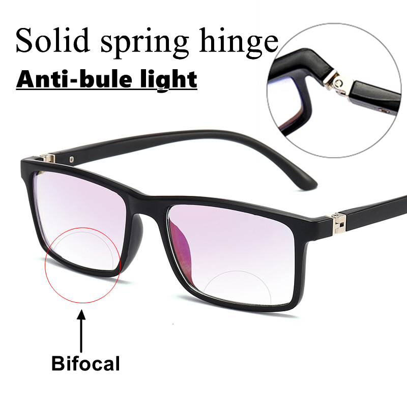 Men Women Bifocal Reading Glasses Anti-blue Light Far Near Magnification Presbyopic Glasses Square Full Frame Diopter +100 Gafas