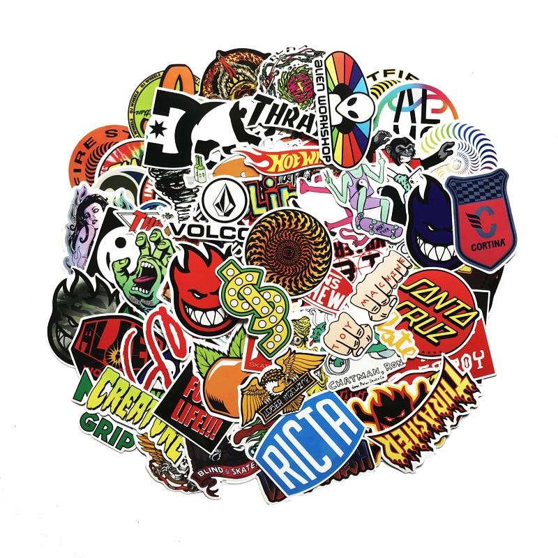 100 Классные модные наклейки с логотипом Скейтборда для чемодана скейтборда ноутбука чемодана холодильника телефона автомобиля «сделай сам...