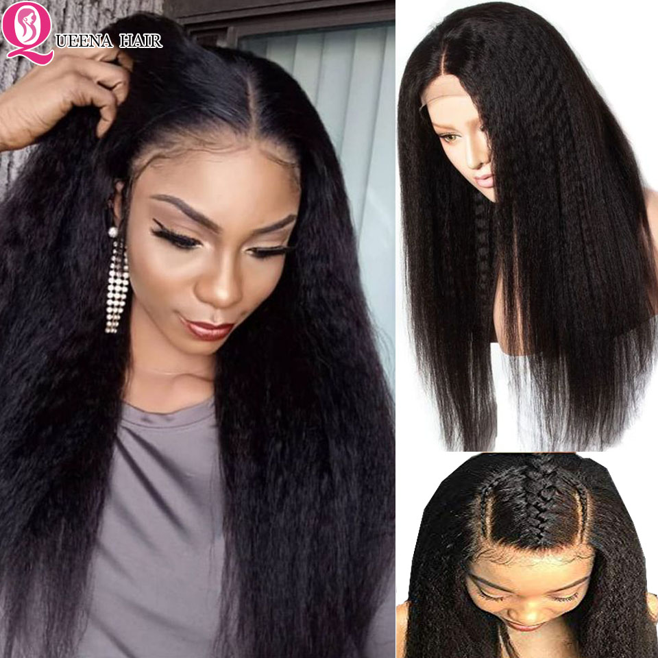 Kinky Straight Wig 13x6 Glueless Lace Front Human Hair Wig For Black Women PrePlucked Peruvian Transparent 360 Lace Frontal Wig