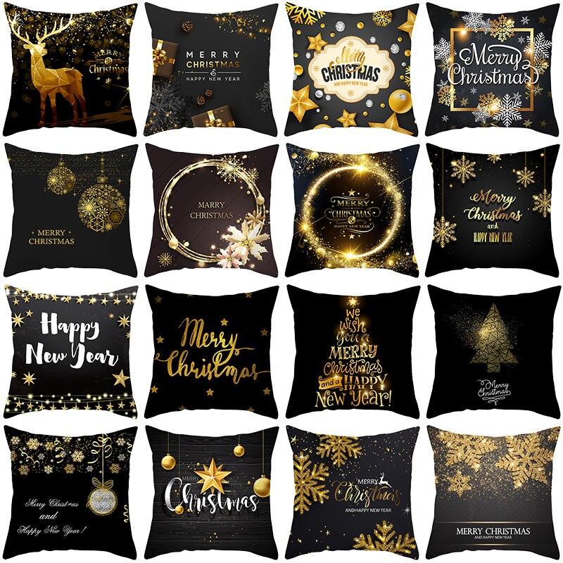 Black Gold Cushion Cover Deer Print Throw Pillow Cover Sofa Cushion Case Home Merry Christmas New Year Decor Pillowcase
