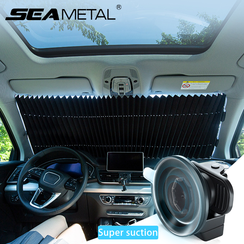 Retractable Windshield Sun Shade for Car Windshield Sunshades Blocks 99percent UV Rays Sun Visor Protector for Auto Keep Vehicle Cool