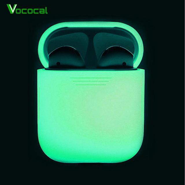 Vococal funda protectora de silicona a prueba de golpes para Apple AirPods, funda protectora que brilla en la oscuridad, accesorios para auriculares inalámbricos