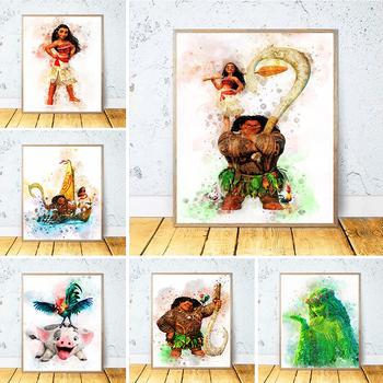 Disney Moana obraz na płótnie Maui Pua Hei Hei TeFiti akwarela plakat na ścianę obraz sztuki do życia dzieci pokój Home Decor Cuadros tanie i dobre opinie CN (pochodzenie) Wydruki na płótnie Pojedyncze PŁÓTNO akwarelowy cartoon bez ramki abstrakcyjne DF174 Malowanie natryskowe