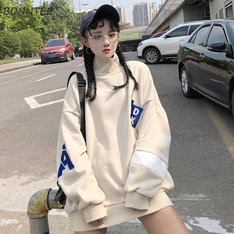 Hoodies Women Long Sleeve Korean Style Fashion Loose Thick Fashion Turtleneck Large Size Streetwear Womens Clothing Chic Casual