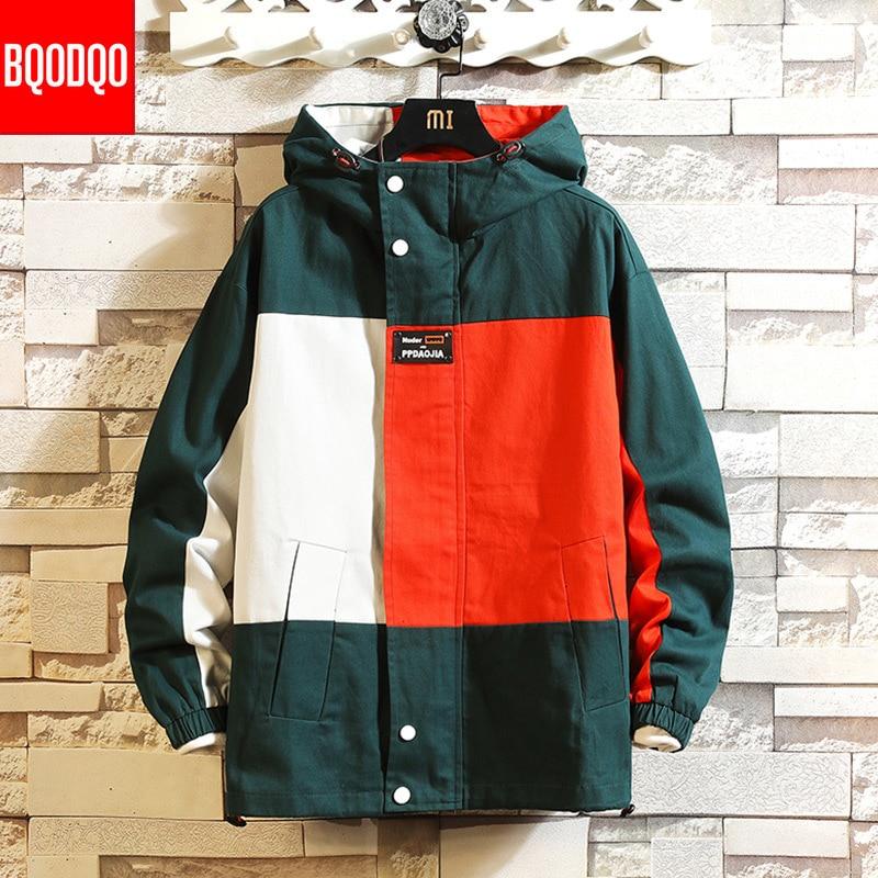 Black Patchwork Block Military Sweatshirt Jackets For Men Autumn Hip Hop Japanese Hoodies Streetwear Loose Casual Hooded Jacket