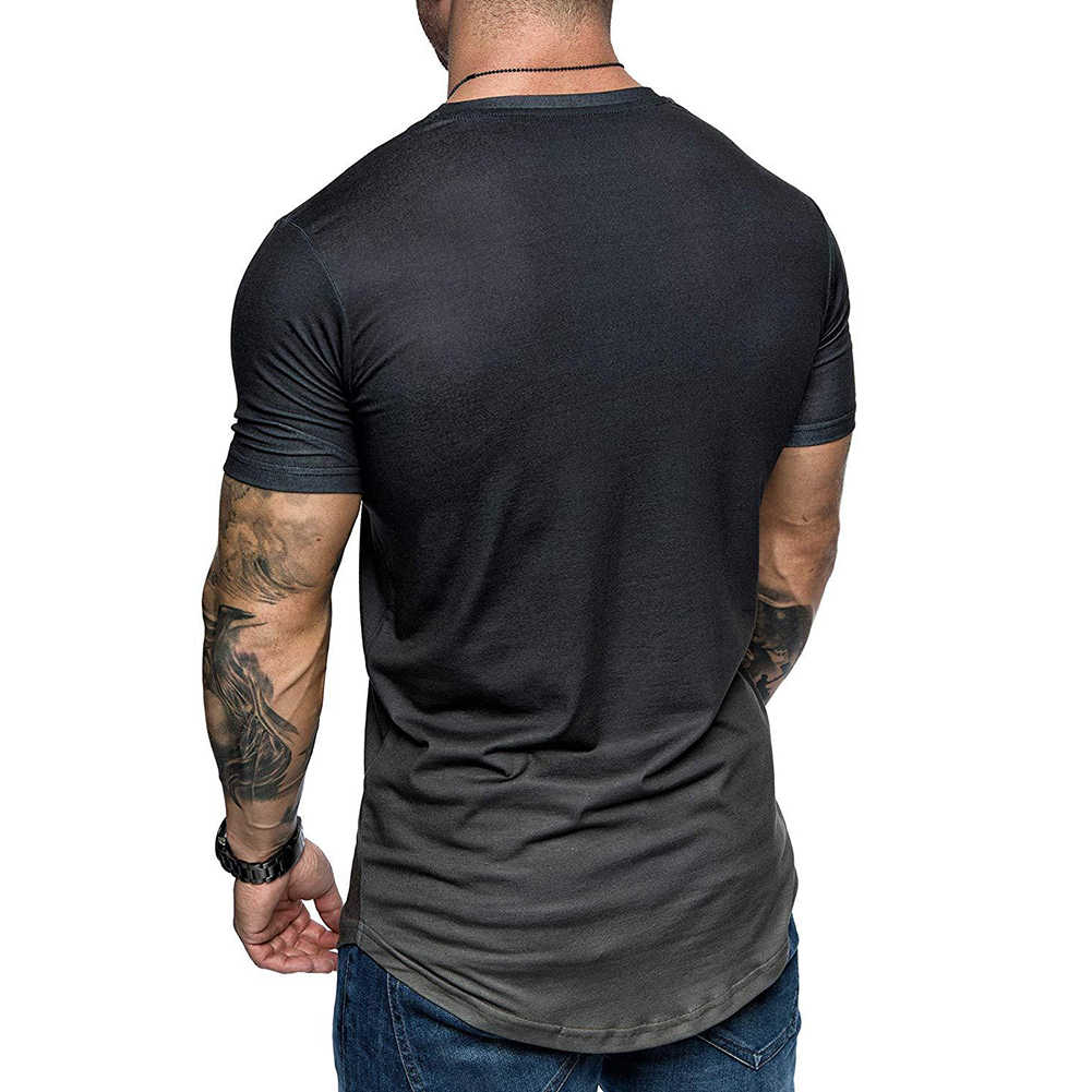夏のファッション古い印刷男性グラデーションカラー半袖ラウンドネック tシャツスリムフィットトップ