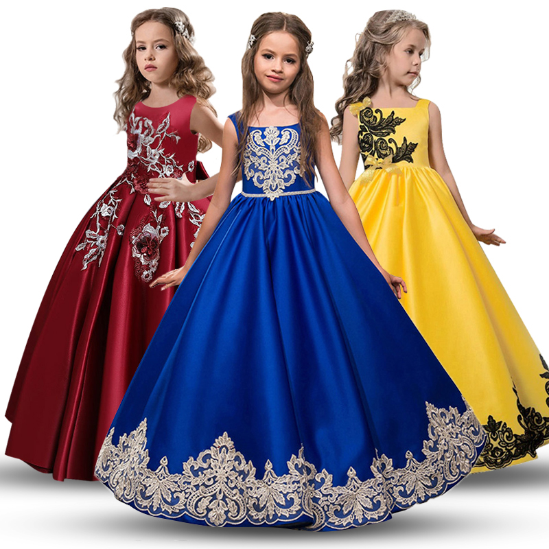 High Quality 3-14 Year Kids Girls Wedding Embroidery Girl Dress New Princess Party Pageant Formal Dress Sleeveless Silk Tulle