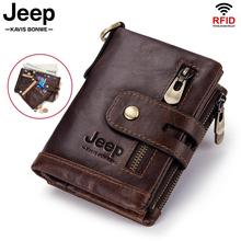 100% Genuine Leather Men Wallet Coin Purse Small Mini Card Holder Chain PORTFOLIO Portomonee Male Walet Pocket Quality