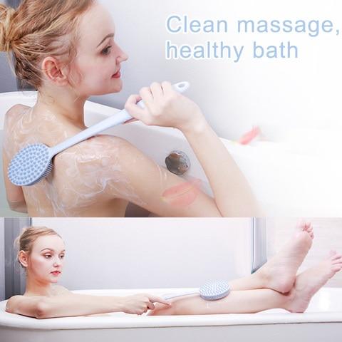 1 pcs escova de banho silicone punho longo massagem limpeza volta para chuveiro banheiro